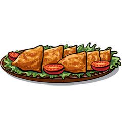 Indian food samosa vector