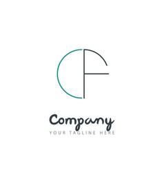 Initial letter cf circle design logo vector