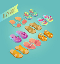 Isolated shoes for children summer shoe icons se vector