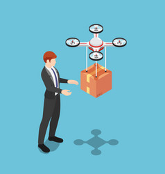 isometric businessman received package from drone vector image