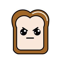 Kawaii cute angry bread icon vector