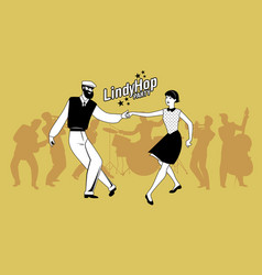 Lindy hop party young hipster couple dancing vector