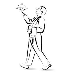 Line sketch waiter vector image