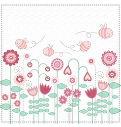 lovely flowers and cute bees vector image