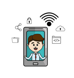 man inside of smartphone and technology icons vector image