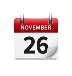 November 26 flat daily calendar icon vector