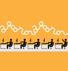 office interior working people silhouette vector image