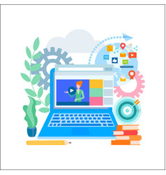 online education online learning social media vector image