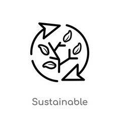 Outline sustainable icon isolated black simple vector