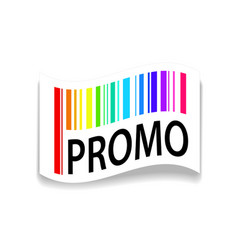 paper tags with barcode and promo on white with vector image