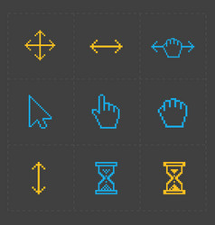 Pixel colorful cursors icons vector
