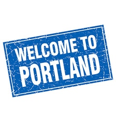 Portland blue square grunge welcome to stamp vector