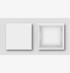 realistic white box in top view box mockup vector image