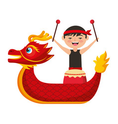 Red dragon man with drum festival chinese vector