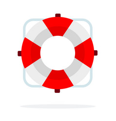 red lifebuoy flat isolated vector image