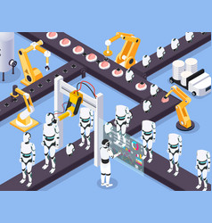 robots assembly line composition vector image