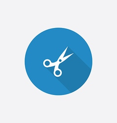 scissors Flat Blue Simple Icon with long shadow vector image