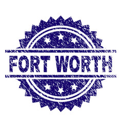 Scratched textured fort worth stamp seal vector