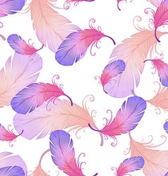 Seamless pattern with bird feathers vector