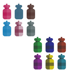 set of multi-colored bottles in the style of flat vector image