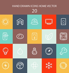 Set of web white thin lines icons home flat vector image