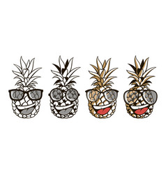 set pineapple with glasses and smile vector image
