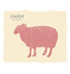 sheep farm animal silhouette vintage symbol vector image