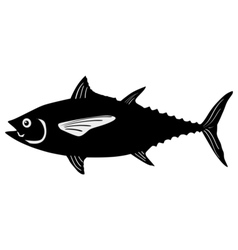 Silhouette of tuna vector image