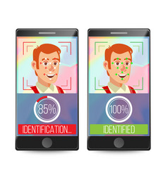 smartphone scan person face electronic vector image