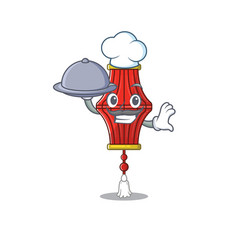 Smiling chinese paper lanterns as a chef with food vector