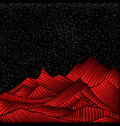 Space landscape with bright red mountain mars vector
