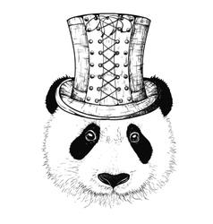 steampunk panda hat vector image