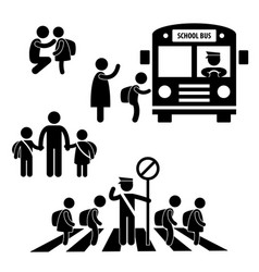 student pupil children back to school bus vector image