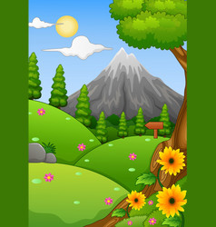 summer landscape with mountain and hills vector image