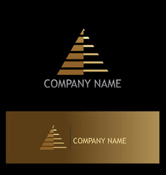 triangle pyramid stripe gold logo vector image