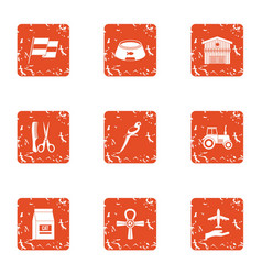 Upkeep icons set grunge style vector
