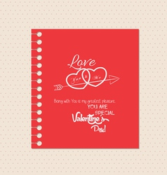 valentines day greeting card with note vector image