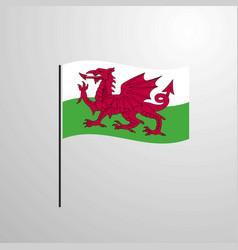 Wales waving flag vector