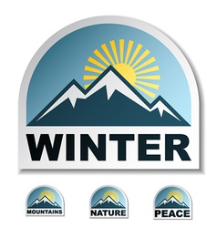 Winter blue mountain stickers vector