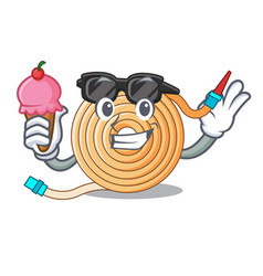 With ice cream garden water hose cartoon vector