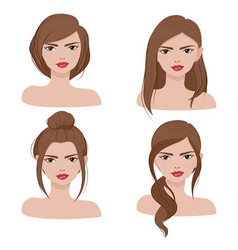 woman face portrait in different hair style vector image