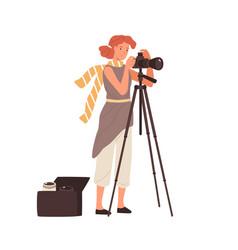 woman professional photographer take photo use vector image