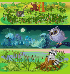 cartoon animals banners set vector image