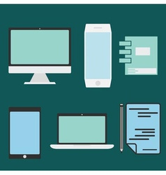 flat design office elements and computer tablet vector image