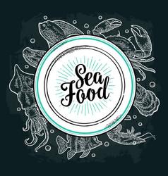 Square poster sea food vintage engraving vector