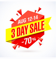 three day sale poster banner design template vector image vector image