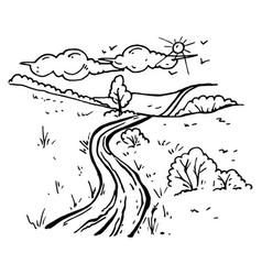 y painted rural landscape vector image vector image