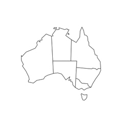 Outline map of the states of Australia Royalty Free Vector