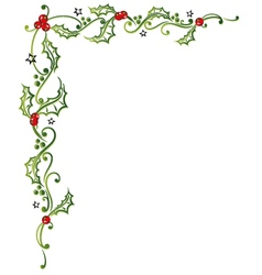 Christmas holly tendril vector image vector image