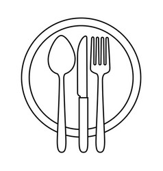 dish with cutlery set isolated icon vector image